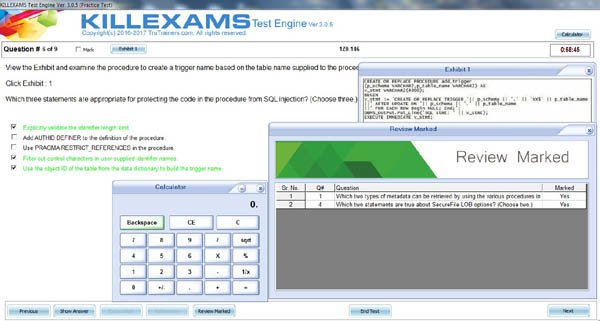 Exam Simulator test screen